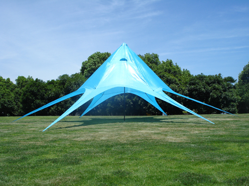 Blått partytelt i stjerneform - 16 meter