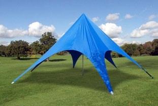 Blått partytelt i stjerneform - 8 meter